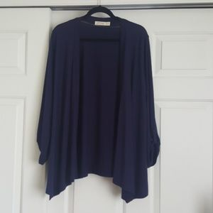 Navy Blue Open Front Cardigan